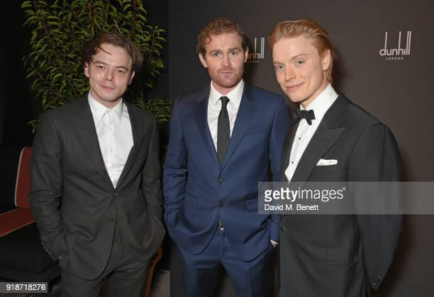 Charlie Heaton Mark Stanley and Freddie Fox attend the Dunhill GQ preBAFTA filmmakers dinner and party cohosted by Andrew Maag Dylan Jones at Bourdon...