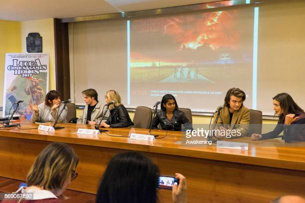 Charlie Heaton Natalia Dyer Linnea Berthelsen and Joe Keery attend the opening of the Lucca Comics and Games Heroes on November 1 2017 in Lucca Italy