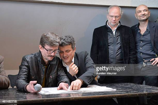 Charlie Hebdo cartoonist Renald Luzier aka Luz Patrick Pelloux Charlie Hebdo journalist Laurent Joffrin President of Liberation and Richard Malka...