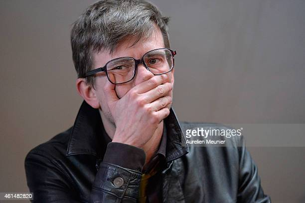Charlie Hebdo cartoonist, Renald Luzier aka Luz, speaks during the Charlie Hebdo press conference held at the Liberation offices in Paris on January...