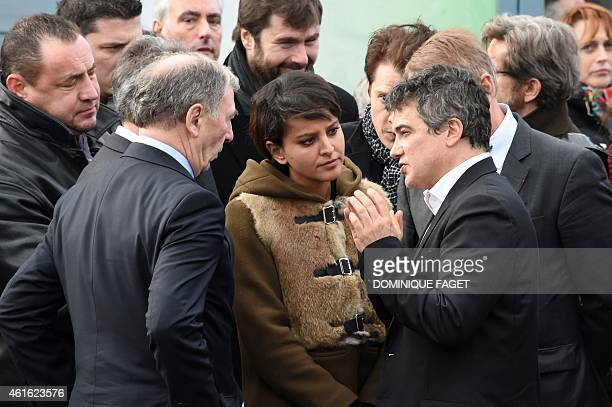 Charlie Hebdo columnist Dr Patrick Pelloux speaks to Pontoise's mayor Philippe Houillon and French Education Minister Najat VallaudBelkacem at the...