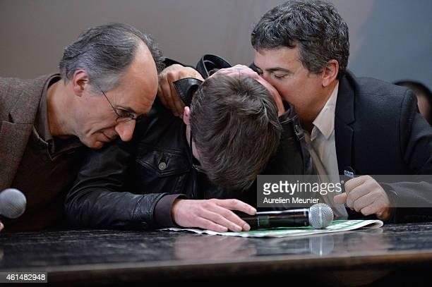 Charlie Hebdo editor in chief Gerard Briard Charlie Hebdo cartoonist Renald Luzier aka Luz and Patrick Pelloux Charlie Hebdo journalist during the...