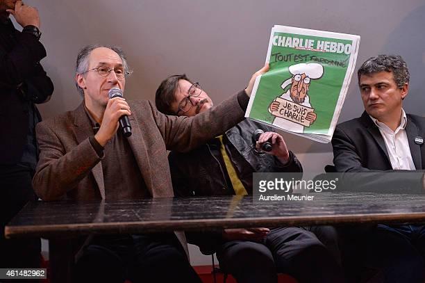 Charlie Hebdo editor in chief, Gerard Briard Charlie Hebdo cartoonist, Renald Luzier aka Luz and Patrick Pelloux , Charlie Hebdo journalist, during...