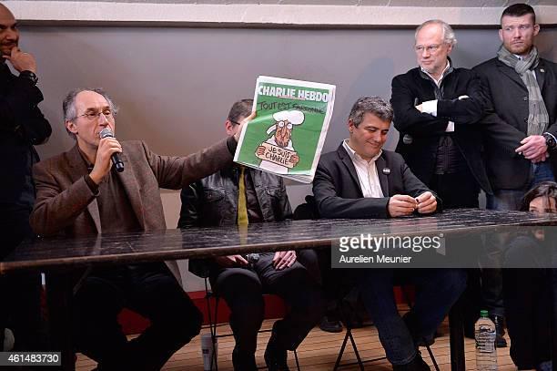 Charlie Hebdo editor in chief Gerard Briard Charlie Hebdo cartoonist Renald Luzier aka Luz Patrick Pelloux Charlie Hebdo journalist and the President...