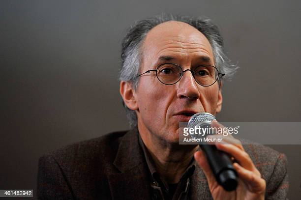 Charlie Hebdo editor in chief Gerard Briard speaks during the Charlie Hebdo press conference held at the Liberation offices in Paris on January 13...