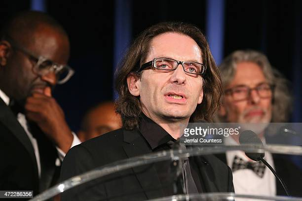 Charlie Hebdo film critic JeanBaptiste Thoret accepts PEN/Toni and James C Goodale Freedom of Expression Courage Award onstage at the PEN American...