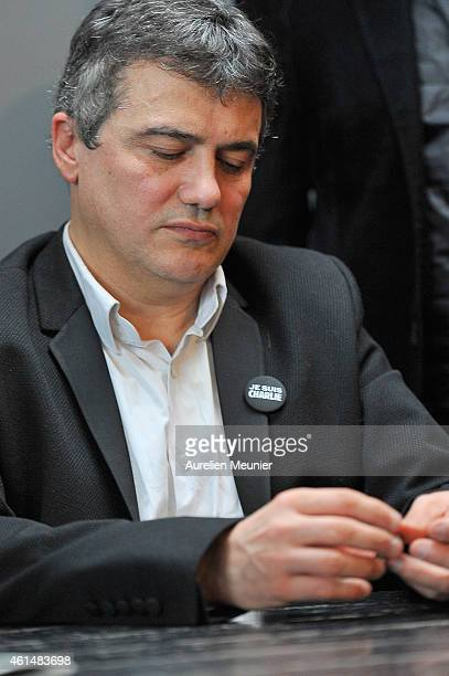 Charlie Hebdo journalist Patrick Pelloux during the Charlie Hebdo press conference held at the Liberation offices in Paris on January 13 2015 in...