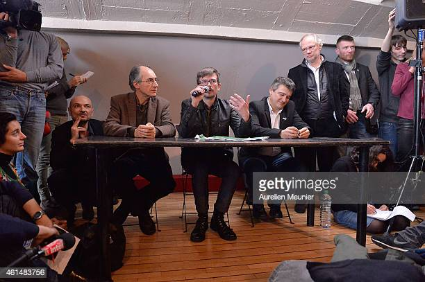Charlie Hebdo lawyer Richard Malka Charlie Hebdo editor in chief Gerard Briard Charlie Hebdo cartoonist Renald Luzier aka Luz Patrick Pelloux Charlie...