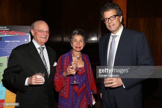 Charlie Hecht Leslie Toepfer Lorenzo Lorenzotti attend Cancer Research Institute Through The Kitchen Party at Seagram Building on May 19 2019 in New...