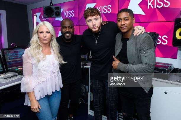 Charlie Hedges Melvin Odoom James Arthur and Rickie Haywood Williamsat Kiss FM Studio's on June 14 2018 in London England