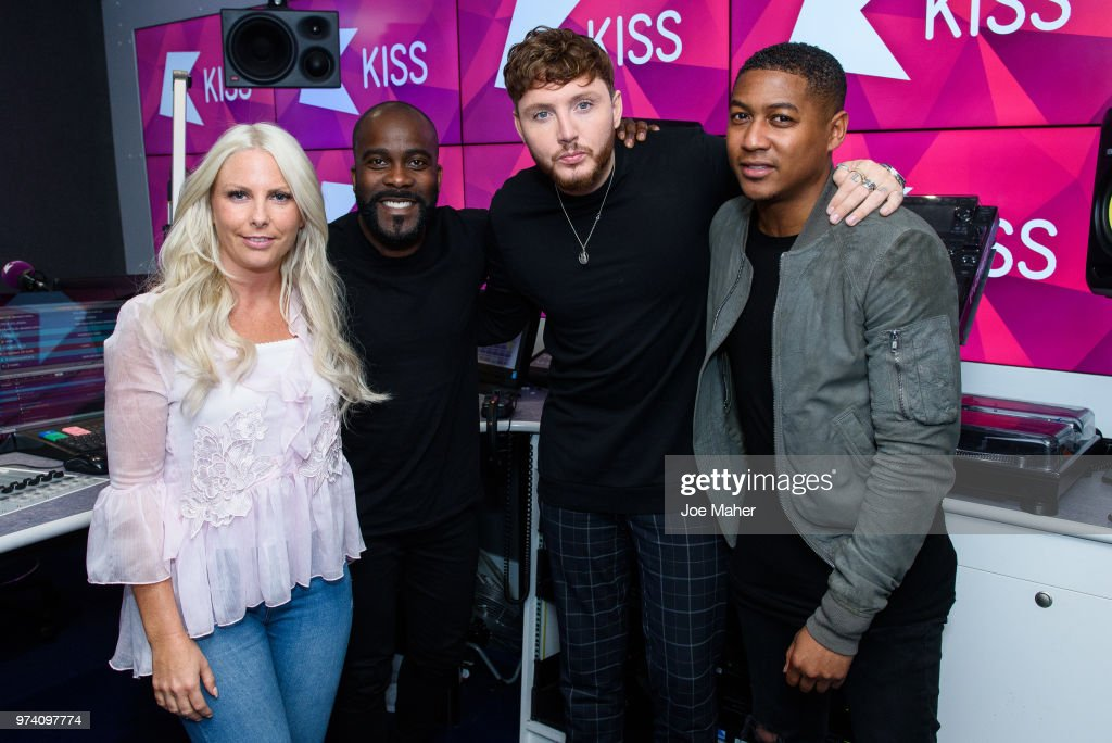 Charlie Hedges, Melvin Odoom, James Arthur and Rickie Haywood Williamsat Kiss FM Studio's on June 14, 2018 in London, England.