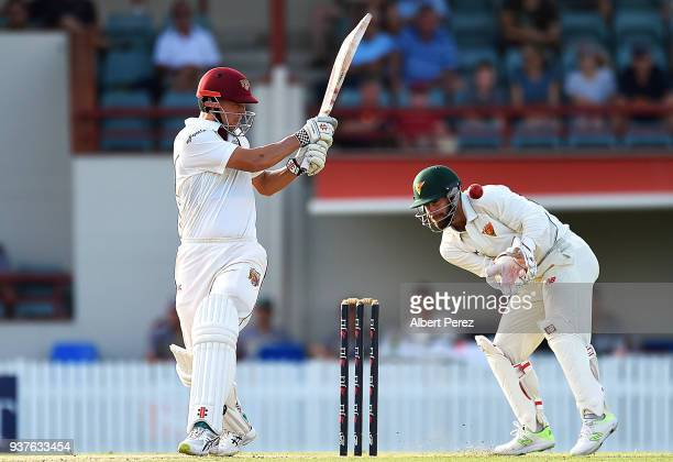 Charlie Hemphrey of Queensland bats during day three of the Sheffield Shield Final match between Queensland and Tasmania at Allan Border Field on...