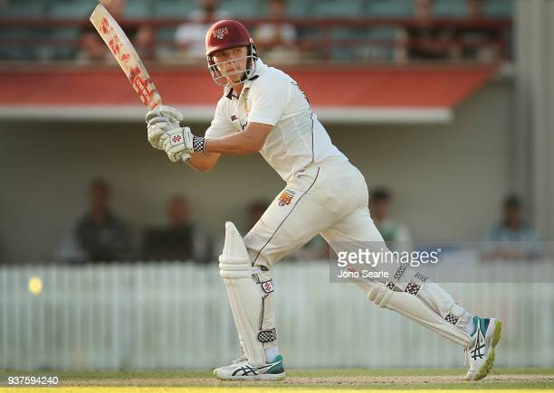 Charlie Hemphrey of Queensland plays a shot during day three of the Sheffield Shield final match between Queensland and Tasmania at Allan Border...