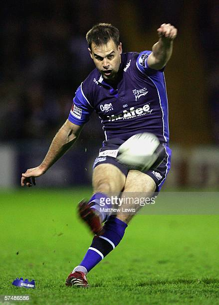 Charlie Hodgson of Sale kicks a penalty during the Guinness Premiership match between Sale Sharks and Bath at Edgeley Park on April 28, 2006 in...