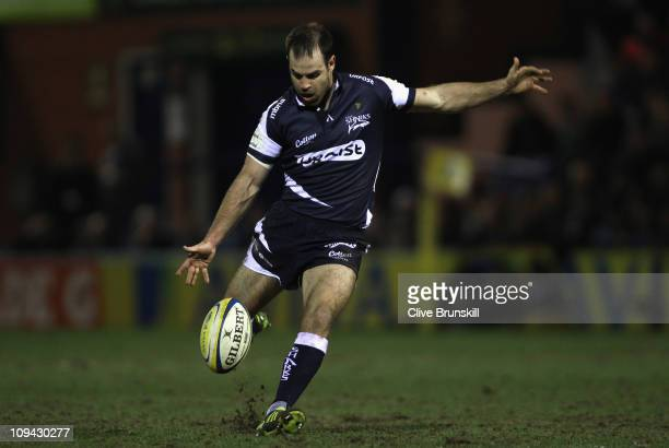 Charlie Hodgson of Sale Sharks attempts a drop goal during the AVIVA Premiership match between Sale Sharks and Leicester Tigers at Edgeley Park on...
