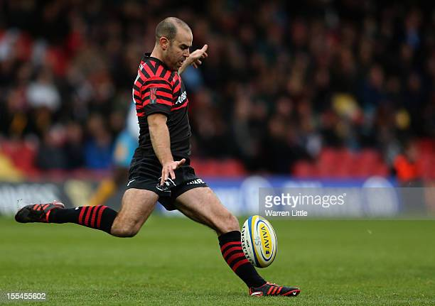Charlie Hodgson of Saracens in action during the Aviva Premiership match between Saracens and London Wasps at Vicarage Road on November 4 2012 in...
