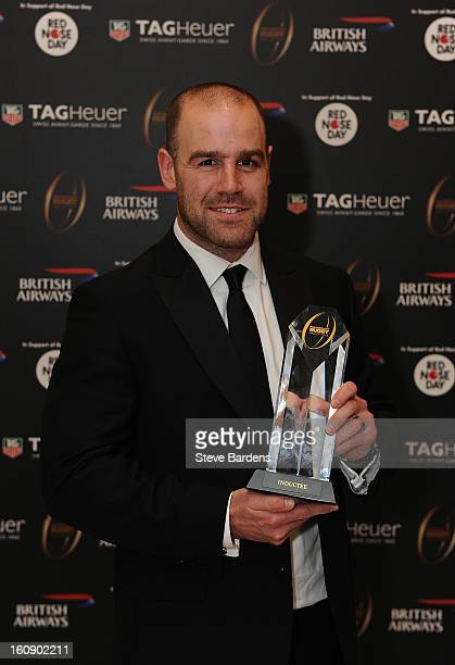 Charlie Hodgson of Saracens is inducted into the Hall of Fame during the inaugural Premiership Rugby Hall of Fame Ball at the Hurlingham Club on...