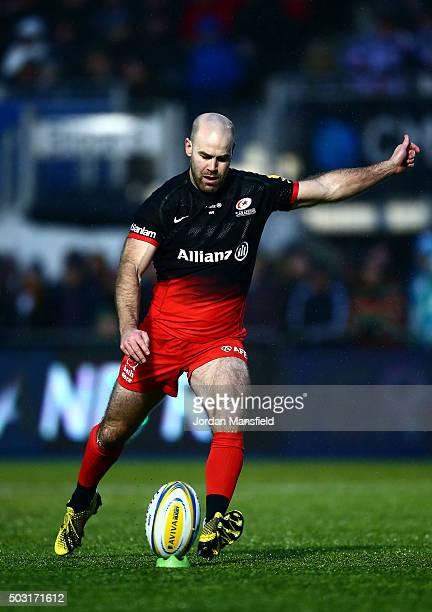 Charlie Hodgson of Saracens kicks a conversion during the Aviva Premiership match between Saracens and Leicester Tigers at Allianz Park on January 2...