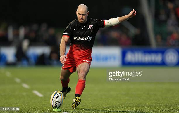 Charlie Hodgson of Saracens kicks during the Aviva Premiership match between Saracens and Gloucester Rugby at Allianz Park stadium on February 20...