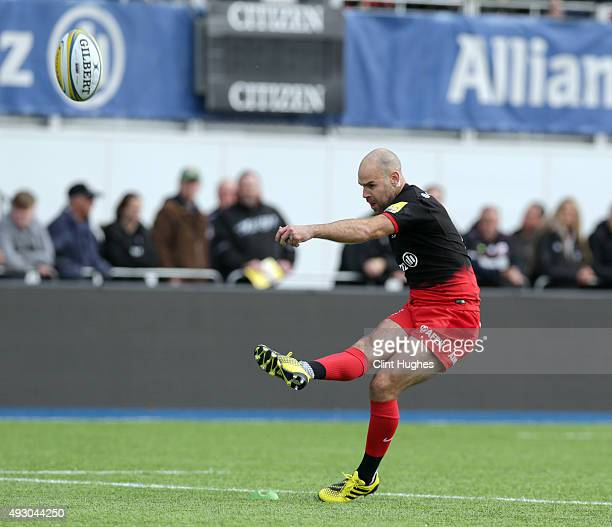 Charlie Hodgson of Saracens successfully converts a try for his side during the Aviva Premiership match between Saracens and Sale Sharks at Allianz...