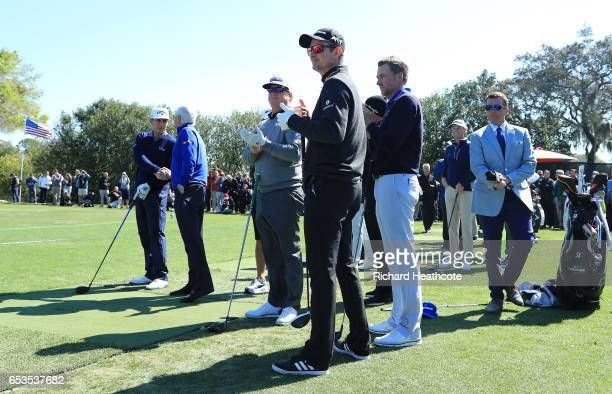 Charlie Hoffman Ian Poulter and Justin Rose look on during the opening ceremony for the Arnold Palmer Invitational Presented By MasterCard at Bay...