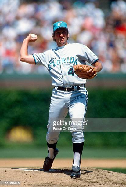 Charlie Hough of the Florida Marlins pitches against the Chicago Cubs during an Major League Baseball game circa 1993 at Wrigley Field in Chicago...