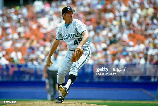 Charlie Hough of the Florida Marlins pitches against the New York Mets during an Major League Baseball game circa 1993 at Shea Stadium in the Queens...