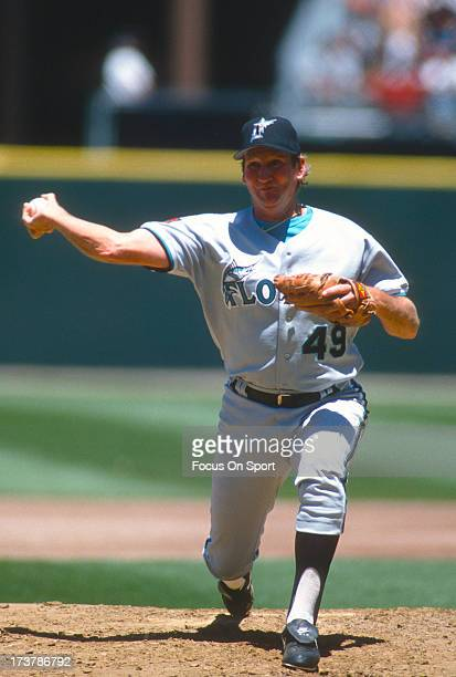 Charlie Hough of the Florida Marlins pitches against the San Francisco Giants during an Major League Baseball game circa 1994 at Candlestick Park in...