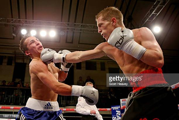 Charlie Hoy in action with Francis Croes during their Super Flyweight fight at York Hall on November 1 2012 in London England