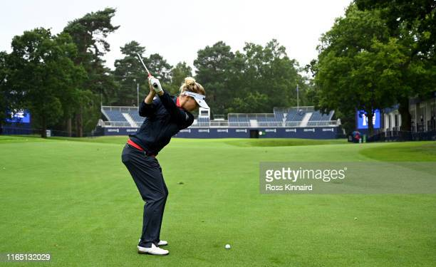 Charlie Hull of England in action during the pro-am event prior to the AIG Women's British Open at Woburn Golf Club on July 30, 2019 in Woburn,...
