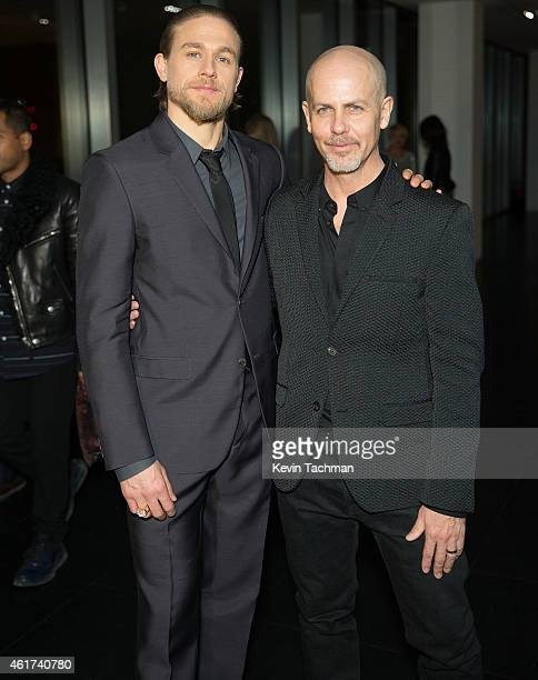 Charlie Hunnam and Creative Director Italo Zucchelli attend the Calvin Klein Dinner as a part of Milan Menswear Fashion Week Fall Winter 2015/2016 on...