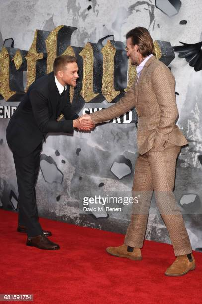 Charlie Hunnam and David Beckham attend the European Premiere of King Arthur Legend of the Sword at Cineworld Empire on May 10 2017 in London United...