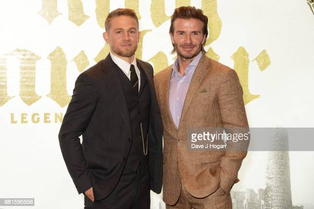 Charlie Hunnam and David Beckham attend the European premiere of 'King Arthur Legend of the Sword' at Cineworld Empire on May 10 2017 in London...