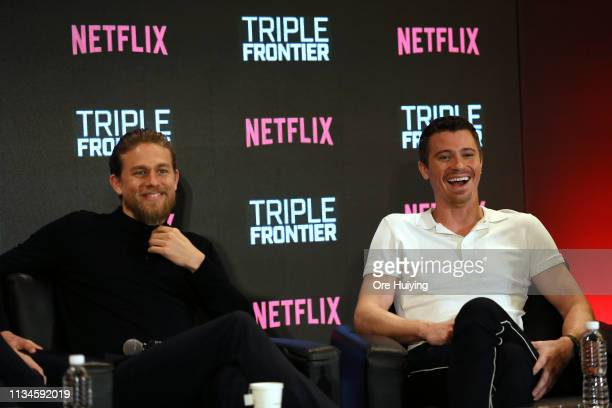 Charlie Hunnam and Garrett Hedlund attend the press conference for the Singapore premiere of 'Triple Frontier' at Marina Bay Sands on March 09 2019...