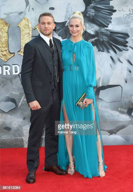 Charlie Hunnam and Poppy Delevingne attend the European premiere of 'King Arthur Legend of the Sword' at Cineworld Empire on May 10 2017 in London...