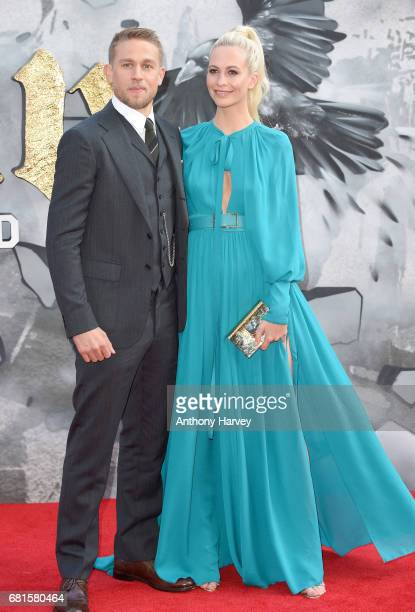 Charlie Hunnam and Poppy Delevingne attend the King Arthur Legend of the Sword European premiere at Cineworld Empire on May 10 2017 in London United...