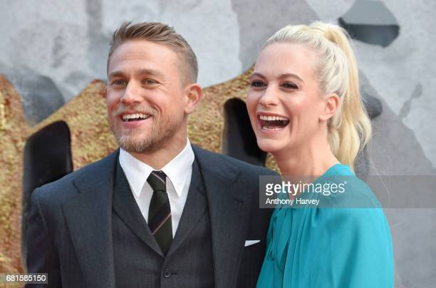 Charlie Hunnam and Poppy Delevingne attend the 'King Arthur Legend of the Sword' European premiere at Cineworld Empire on May 10 2017 in London...