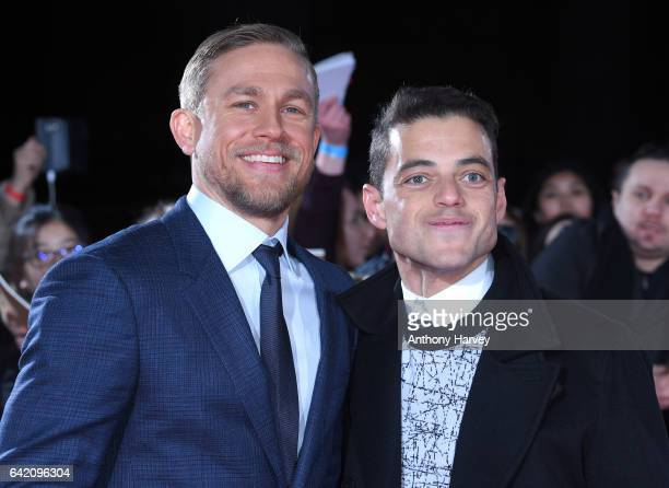Charlie Hunnam and Rami Malek arrive at The Lost City of Z UK premiere on February 16 2017 in London United Kingdom
