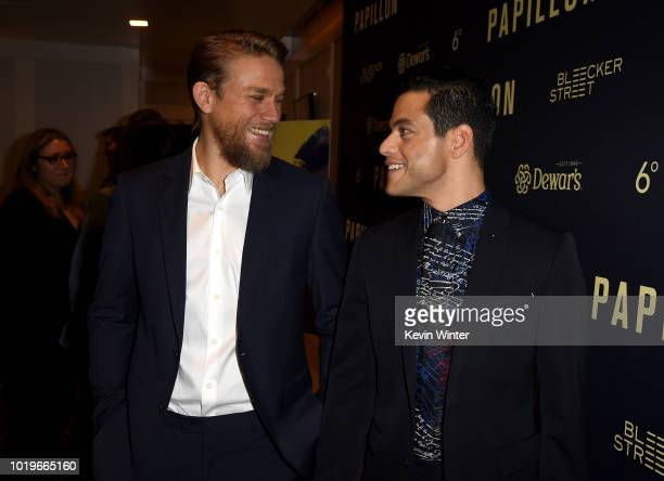 Charlie Hunnam and Rami Malek attend the premiere of Bleecker Street Media's Papillon at The London West Hollywood on August 19 2018 in West...