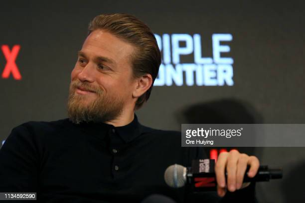 Charlie Hunnam attends the press conference for the Singapore premiere of 'Triple Frontier' at Marina Bay Sands on March 09 2019 in Singapore
