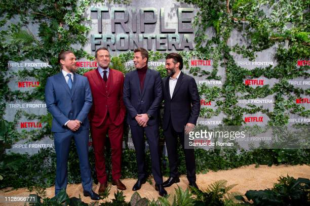 Charlie Hunnam Ben Affleck Garrett Hedlund and Oscar Isaac attend Triple Frontier European Special Screening at Callao Cinema on March 6 2019 in...