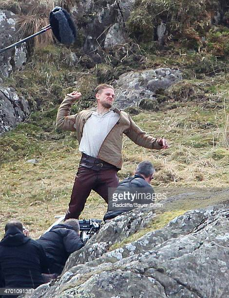 Charlie Hunnam films scenes for the upcoming movie 'Knights of the Round Table' in Capel Curig Wales on April 17 2015 in London United Kingdom