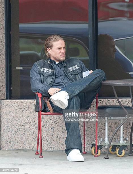 Charlie Hunnam is seen filming 'Sons of Anarchy' on July 14 2014 in Los Angeles California