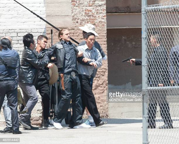 Charlie Hunnam is seen filming 'Sons of Anarchy' on July 17 2014 in Los Angeles California
