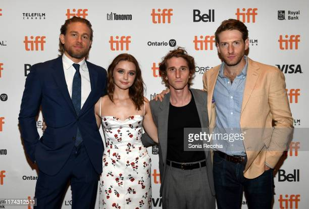 Charlie Hunnam Jessica Barden Max Winkler and Fran Kranz attend the Jungleland photo call during the 2019 Toronto International Film Festival at...