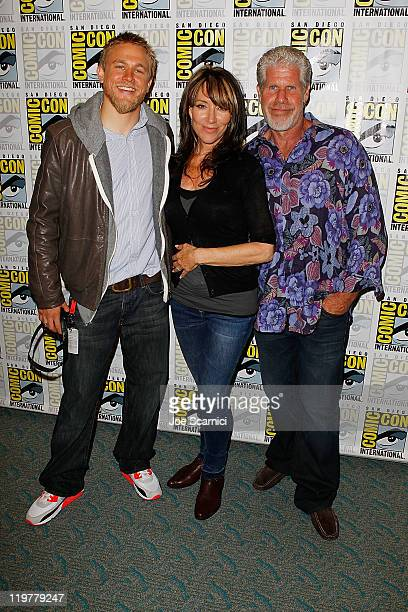 "Charlie Hunnam, Katey Sagal and Ron Perlman attend the ""Sons of Anarchy"" press line at 2011 Comic-Con International - Day 4 at San Diego Convention..."