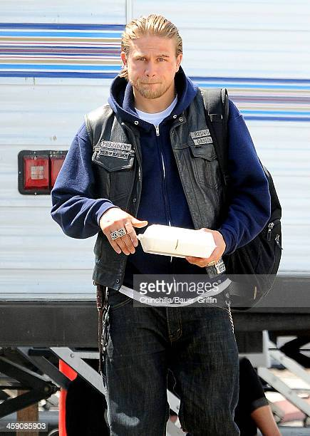 Charlie Hunnam while waiting to film scenes for 'Sons of Anarchy' on September 10 2013 in Los Angeles California