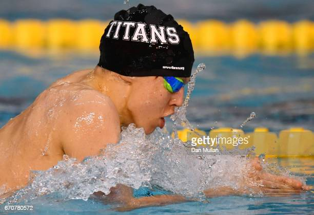 Charlie Hutchison of Ellesmere Co competes in the Mens Junior 400m IM final on day three of the British Swimming Championships at Ponds Forge on...