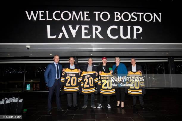 Charlie Jacobs, Delaware North Boston CEO, Tony Godsick, president and CEO of TEAM8, Marty Walsh, Mayor of Boston, John McEnroe, former tennis...