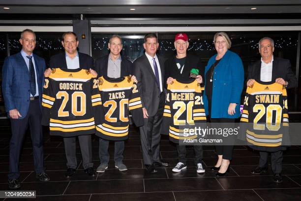 Charlie Jacobs, Delaware North Boston CEO, Tony Godsick, president and CEO of TEAM8, Steve Zacks, CEO of Laver Cup, Marty Walsh, Mayor of Boston,...